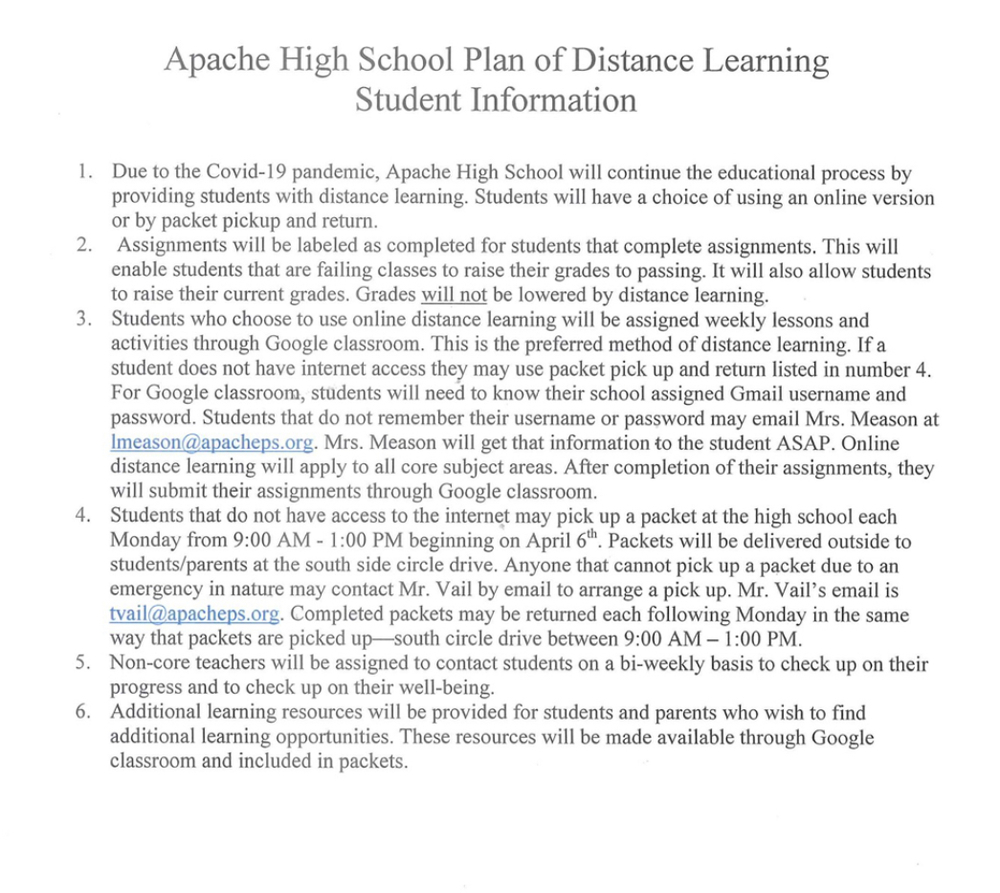 High School: Plan of Distance Learning Student Information