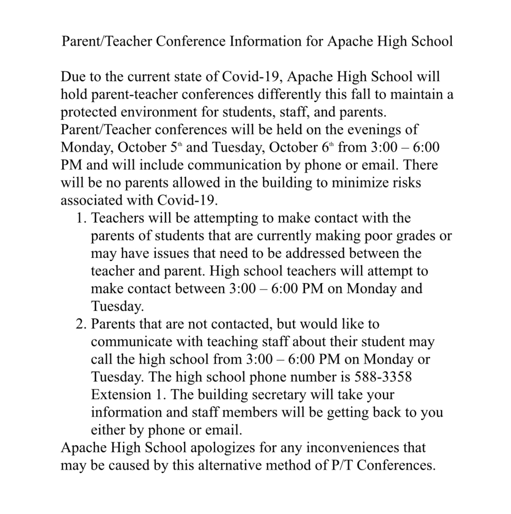 High School Parent Teacher Conference Information